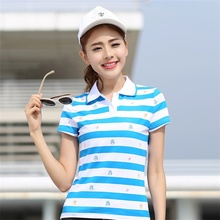 Summer Polo Shirt Women 2017 Short Sleeve Striped Slim POLO Shirts Cotton Turn-Down Collar Tops Fashion Plus Size Femme Shirt