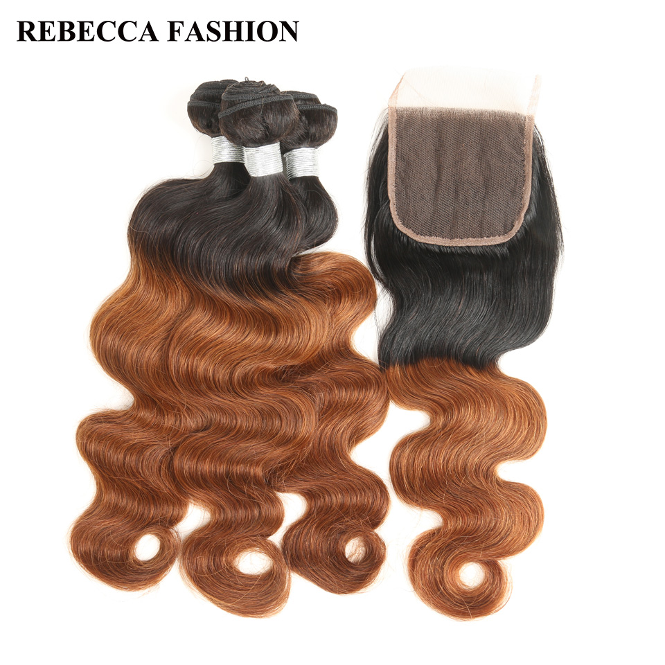Rebecca Remy Malaysian Body Wave Human Hair 3 Bundles With Closure Ombre Dark Brown Hair Weave bundles T1b30 4x4 Lace Closure