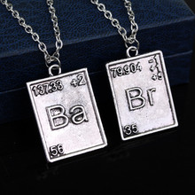Vintage Jewelry Breaking Bad Necklace Chemical Symbol Br Ba Pendant Brothers Couple Necklace Gift