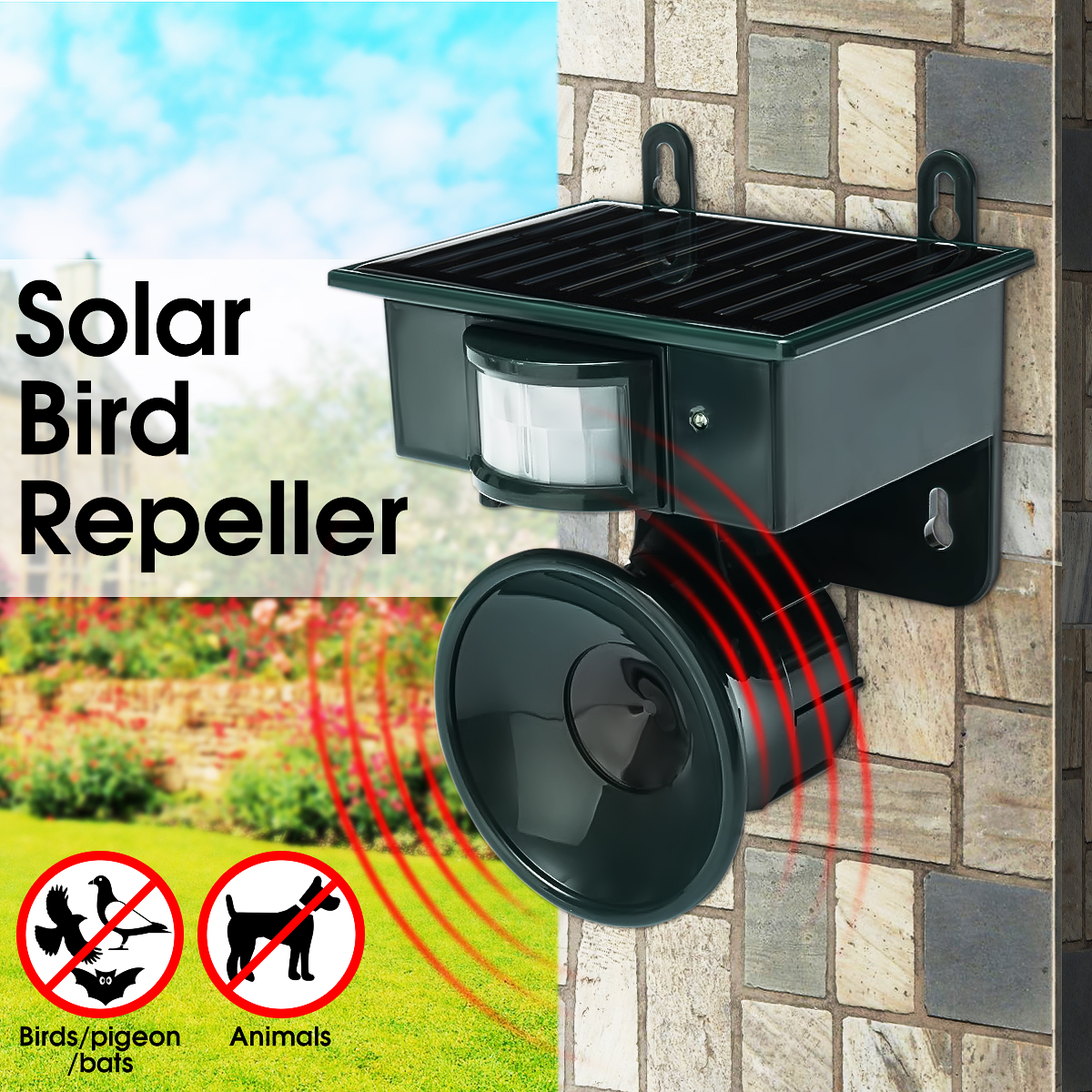 Solar-Pest-Repeller Bird Animal Power Ultrasonic Garden Outdoor Cat-Dog-Mouse Fox Rat title=