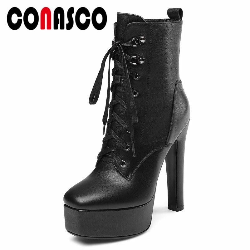 405a8d10 Botas Negro Encaje Cortas Tobillo Mujer Baile Plataformas Altos Conasco  Zapatos Martin Bombas Altas Fiesta Sexy Tacones ...