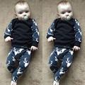 Bebé Recién Nacido Niños Niñas Traje Ropa de navidad Ciervos Camiseta Tops + Pantalones Largos Traje Negro Conjunto Informal