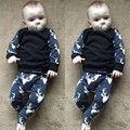 Christmas Newborn Baby Boys Girls Outfit Clothes Deer T-shirt Tops+ Long Pants Outfit Black Casual Set