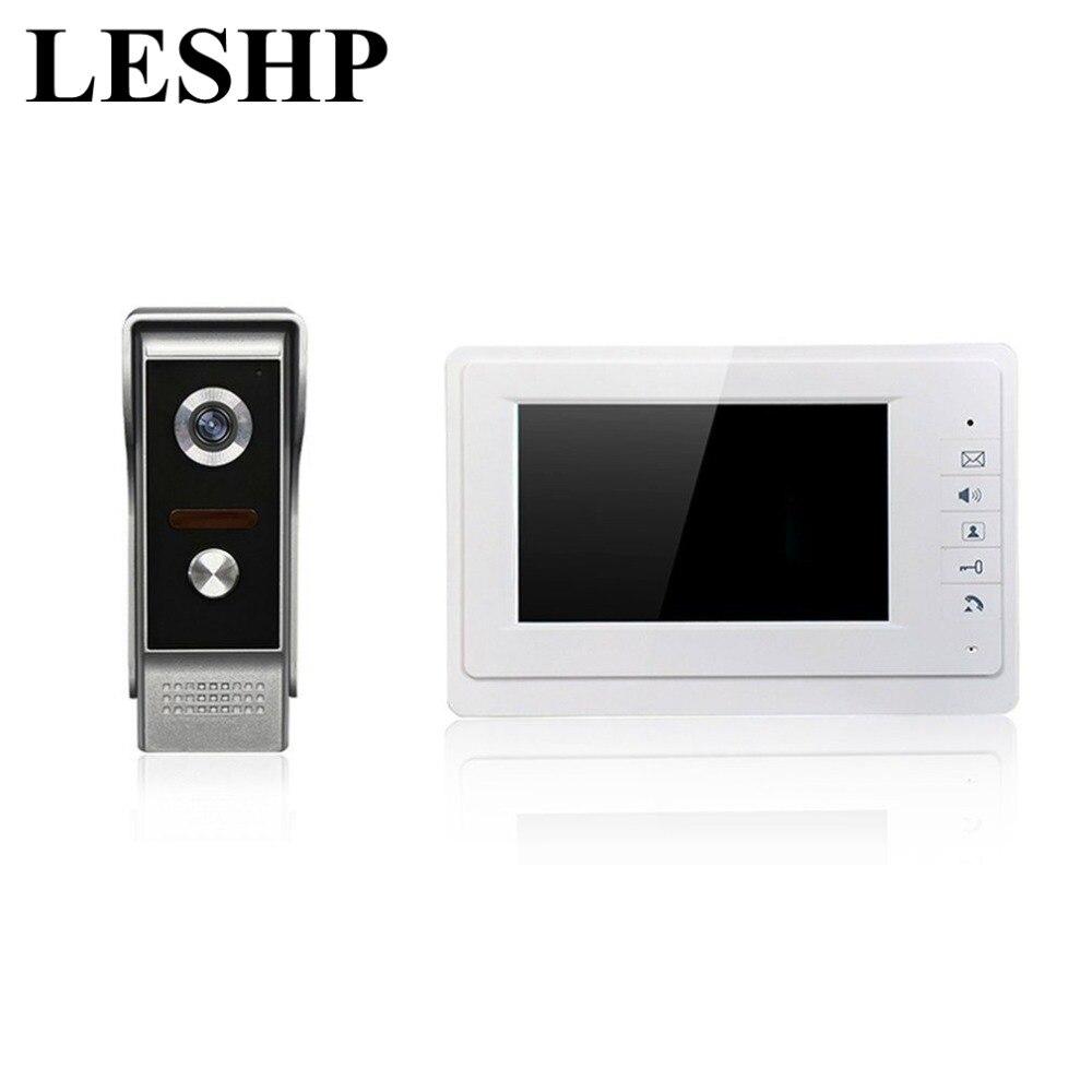 LESHP XSL-V70Rm-M1 Wired Visual Doorbell 7 Inch LCD Video Monitor Door Phone Intercom System Door Release Unlock Doorbell Camera 4 3 inch tft monitor intercom video door phone xsl 43e m