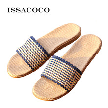ISSACOCO New Men Shoes Mens Flat Canvas Non-slip Linen Slippers Breathable Indoor Flax Zapatillas Terlik