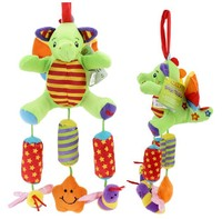 Candice Guo Newest Arrival Cute TOLO Little Dinosaur Wind Chimes Baby Plush Toy Bed Hang With