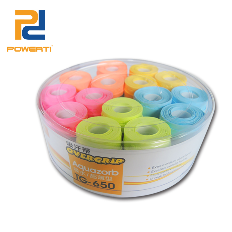 POWERTI 30pcs/lot 0.5mm Dry Sweatband Soft Grip Tennis Racket Grip Stripe Breathable Comfortable Badminton Overgrip