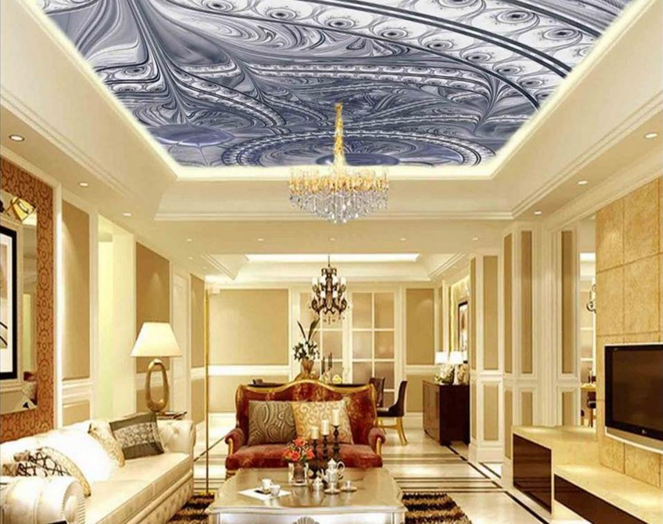 Custom 3d Mural Wallpaper high-end 3D Ceiling Wallpaper Pattern Hotel Restaurant Living Room Ceiling Wallpaper Backdrop custom 3d stereo ceiling mural wallpaper beautiful starry sky landscape fresco hotel living room ceiling wallpaper home decor 3d
