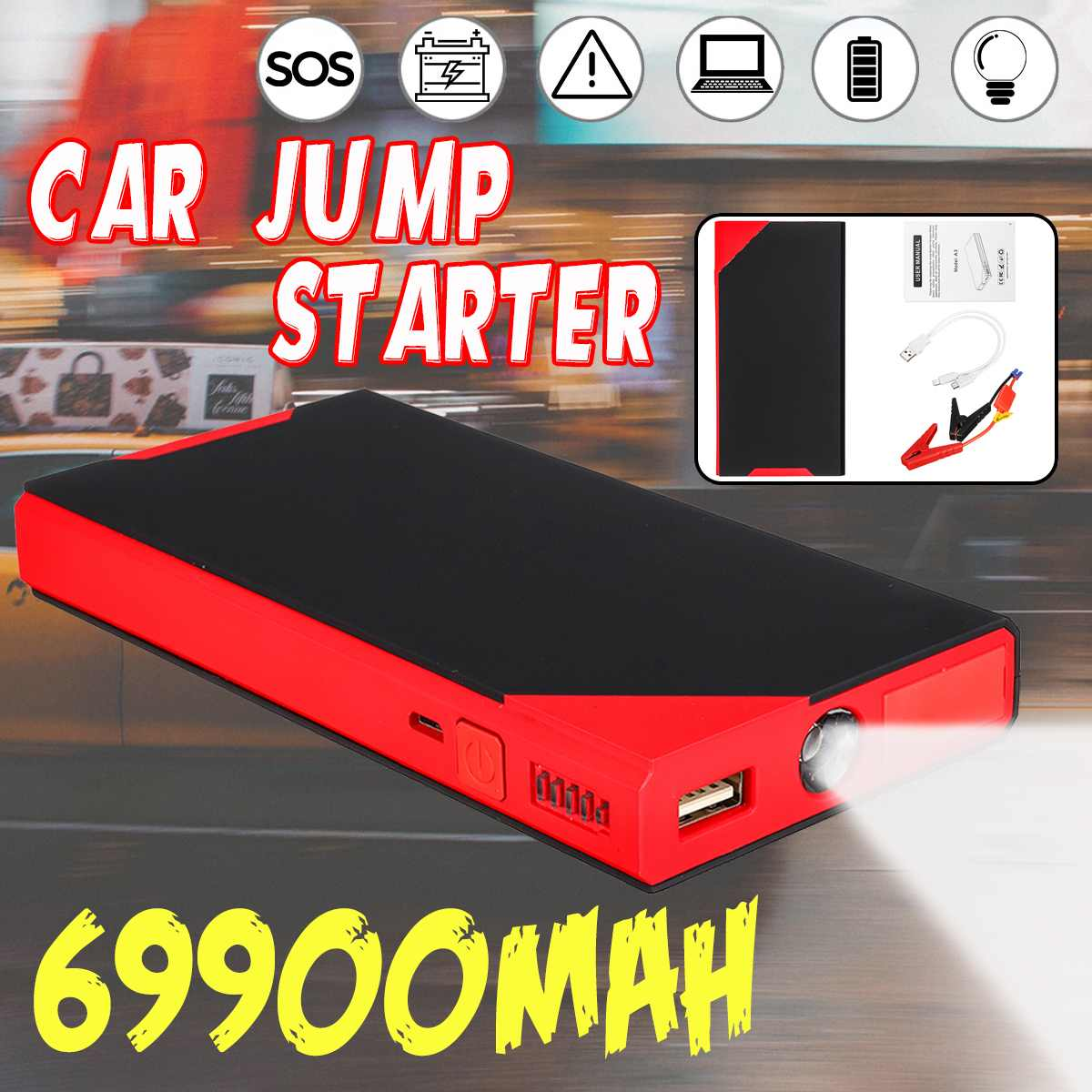 Multifunction 69900mAh Car Jump Starter Power Bank 12V USB LED Portable Emergency Car Battery Booster Charger Starting Device
