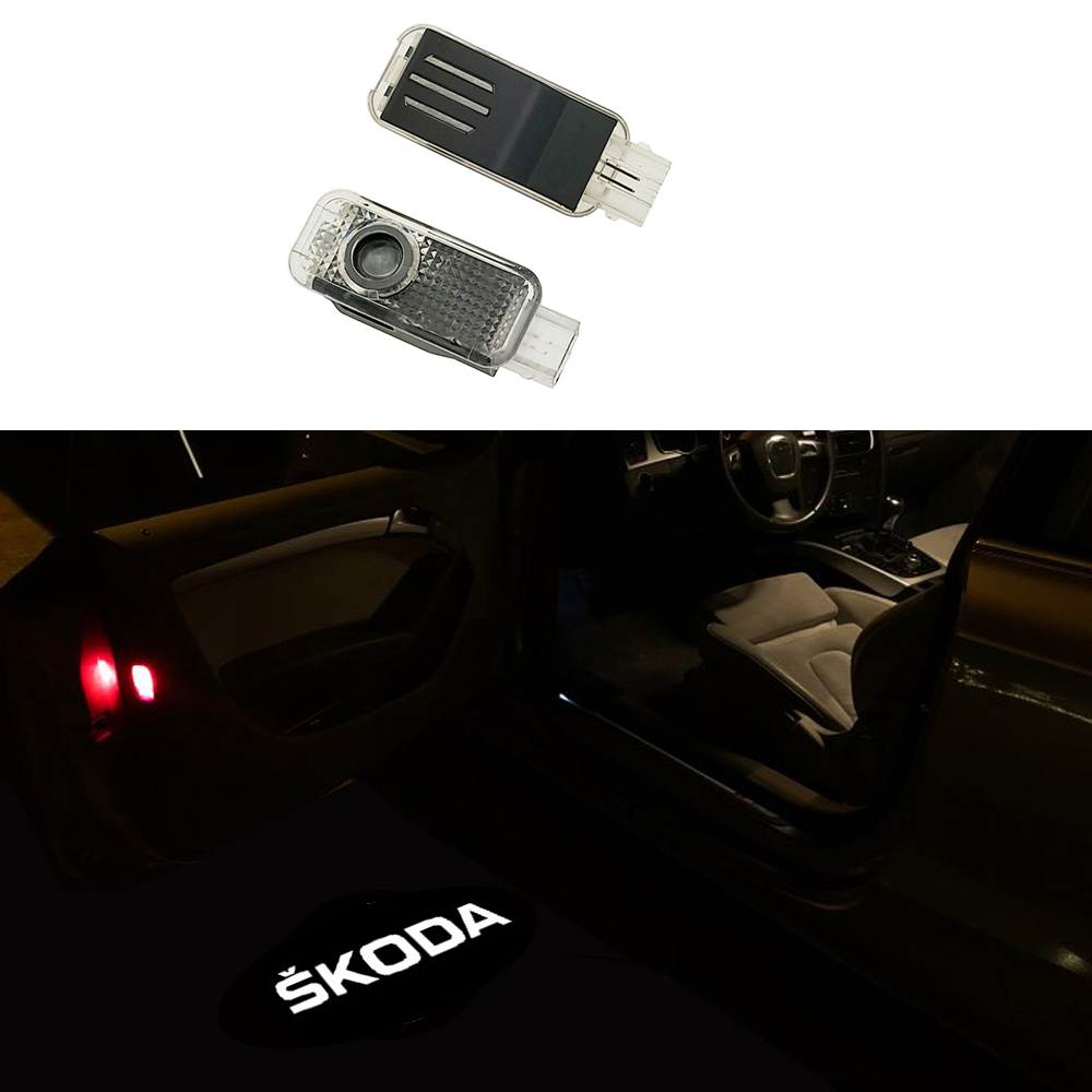 2X LED Car Door Courtesy Laser Projector Logo Ghost Shadow Light Skoda Superb