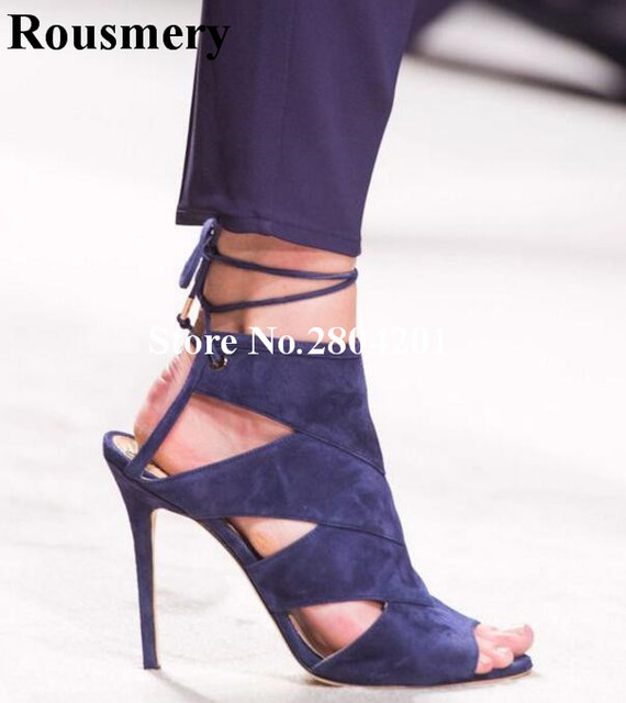 391f9a8a46 Rousmery Stylish Flock Summer Women Strappy Sandals Navy Blue Cut-out  Slingback Cross-tied High Heel Party Dress Shoes Women