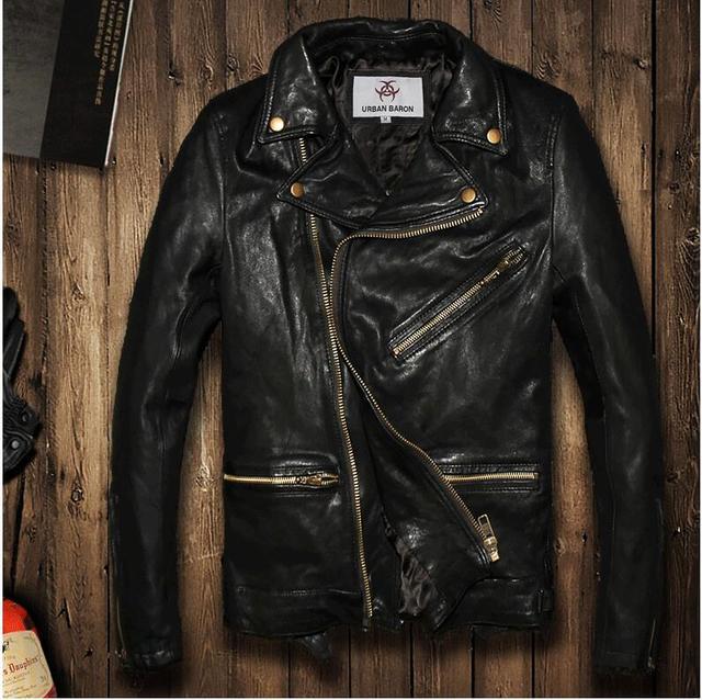 6359cf22d691 2016 Винтаж черный flight bomber jacket овчины Коускин пальто с мехом  воротник пилот кожаная куртка мужская