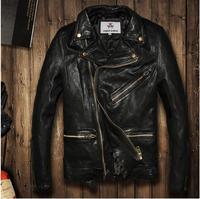 2016 Vintage BLACK flight bomber jacket sheepskin cowskin fur coat collar pilot leather jacket mens male boys motorcycle blazer