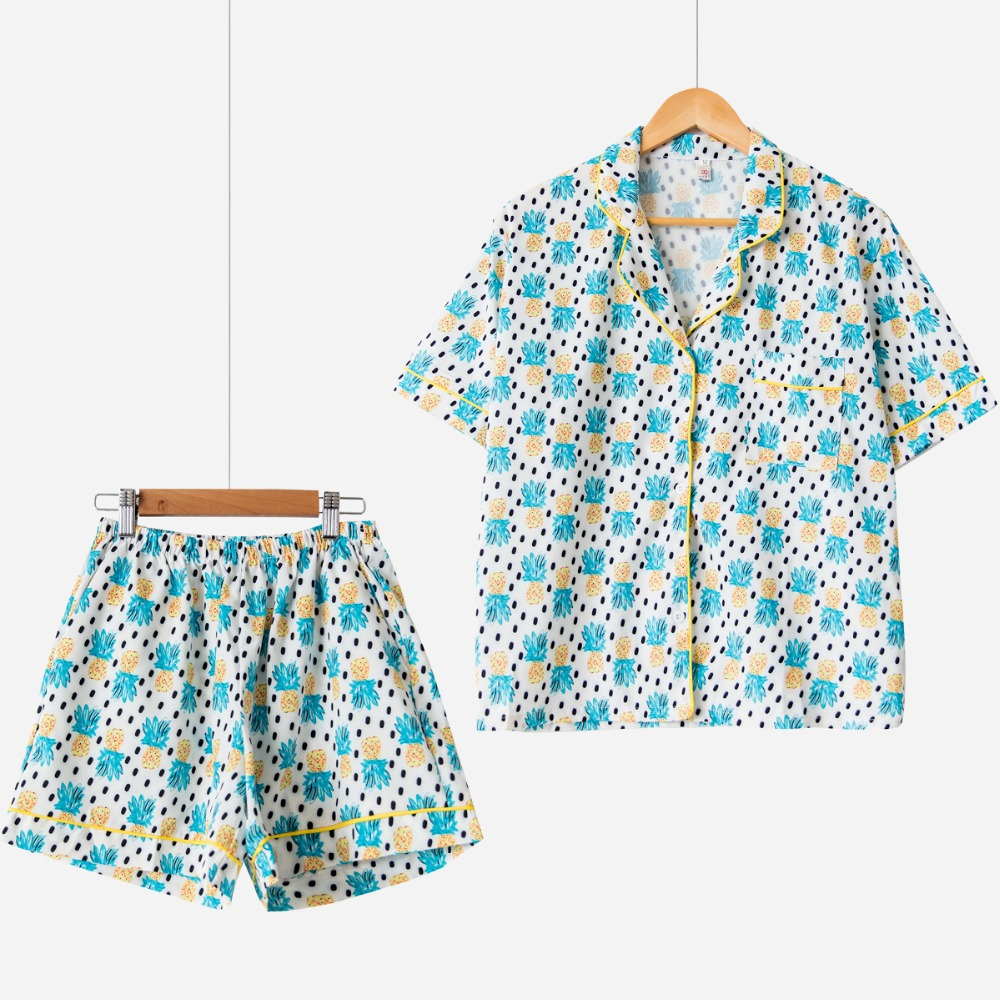 Summer 2019   Pajama     Sets   Women Cute Pineapple Print 2 Pieces   Set   Short Sleeve Top + Shorts Elastic Waist Bordered Loose S76504