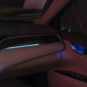 синие автомобильные аксессуары   Автомобильный светодиодный светильник для Toyota Camry 2018 декоративная дверная лампа светодиодный светло-голубой цвет автомобильные аксессуар...