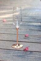 Hot koop clear crystal 240 ml wijnglas set met rose goud stem Top Grade Wijnglas Set Voor Party Bruiloft Fabriek Groothandel