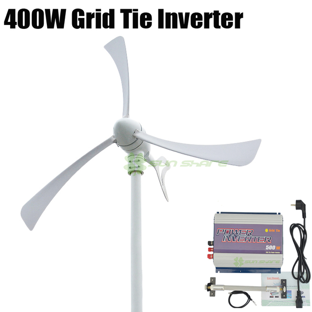 Free shipping 400w wind generator +500w 3phase AC 10.8V-30V/AC22-60V input wind grid tie inverter no need battery,AC 110v/220v