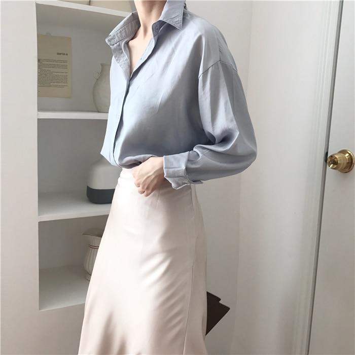 summer elegant high waist women long skirt solid A-line faldas mujer female solid slim jupe femme saia longa 6