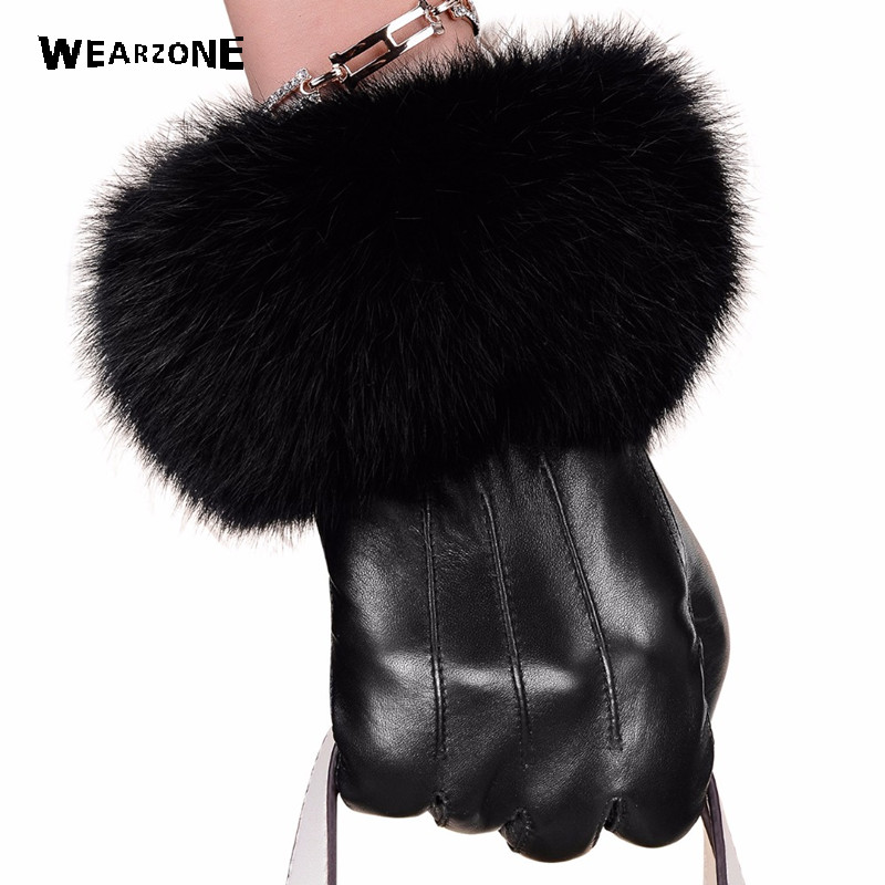 Winter Black Sheepskin Mittens Leather Gloves For Women Rabbit Fur Wrist Top Sheepskin Gloves Black Warm Female Driving Gloves