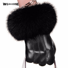 New Winter Leather Gloves Women Big Rabbit Fur Wrist Top Sheepskin Gloves Black Warm Female Driving Gloves Mittens dobeyping 2018 new arrival summer shoes woman cow leather flats women slip on women s loafers female solid shoe big size 35 44