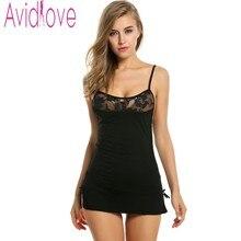 Avidlove женские пикантные Нижнее бельё хлопок рубашка стрейч облегающее платье мини пижамы сексуальное женское белье сорочка + стринги плюс Размеры