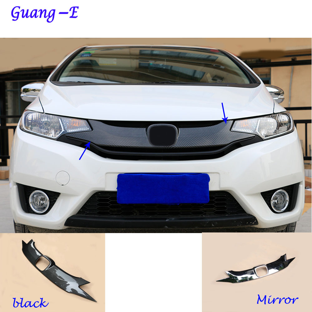 For Honda Fit jazz 2014 2015 2016 2017 car styling body ABS chrome License plate trim racing Grid Grill Grille hoods panel frame car panel body cover protection trim front up grid grill grill racing 1pcs for nissan march 2011 2012 2013 2014 2015 2016 2017