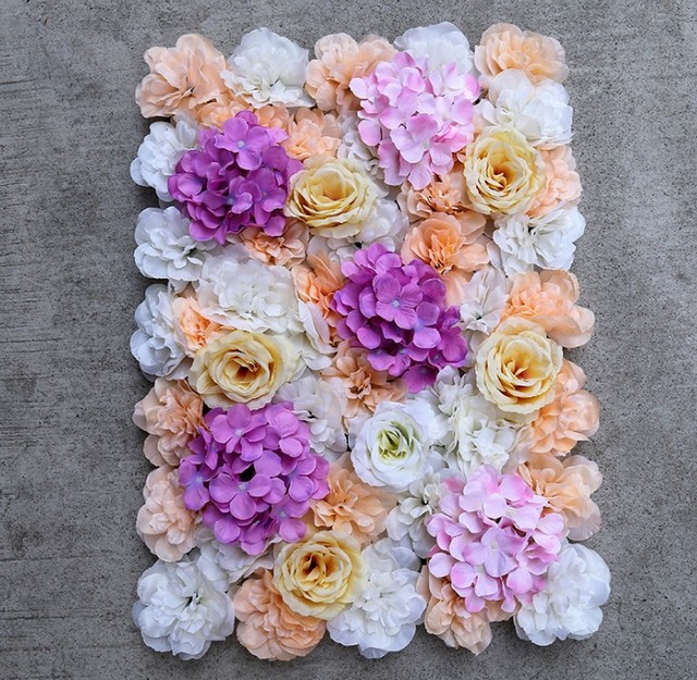 Artificial Silk Rose Flower Wall Decoration Party Decorative Hydrangea Wedding Backdrop 40x60cm