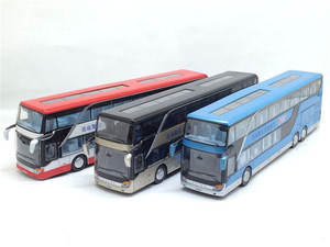 Image 2 - High quality 1:32 alloy pull back bus model high simitation Double sightseeing bus flash toy vehicle kids toys free shipping