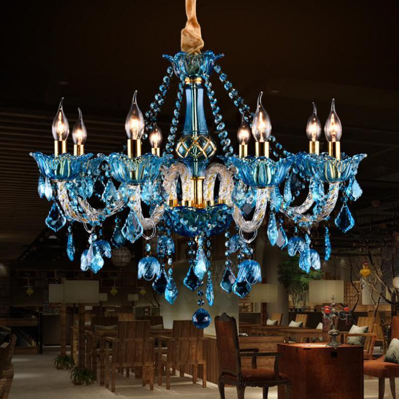 dining room Modern blue chandelier crystal Lamparas Led candle Chandelier Home Lighting Restaurant Bar cafe light glass Lamps turkish mosaic lamps blue crystal glass led lights hand blown murano glass chandelier lighting