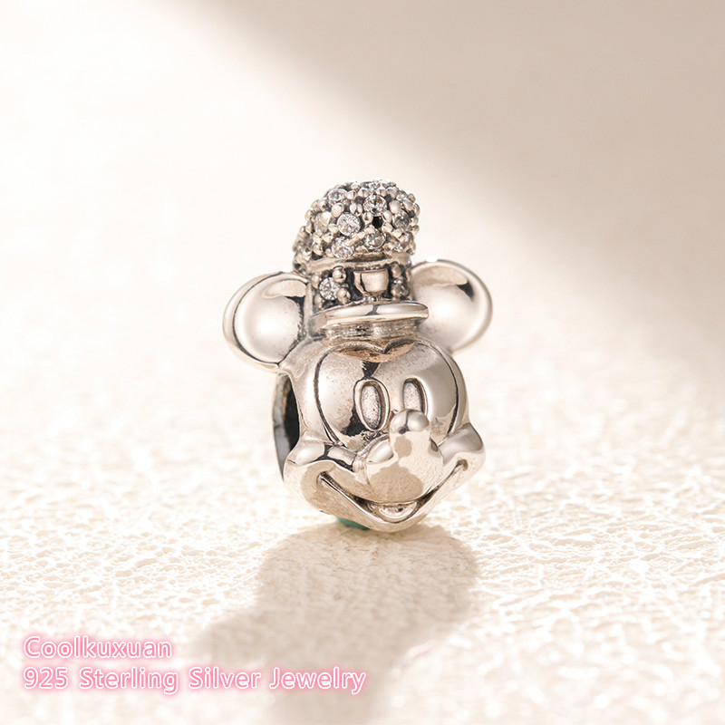 2018 Winter 925 Sterling Silver Shimmering Steamboat WilliePortrait Charm, Clear CZ Beads Fit Original Pandora Charms Bracelet