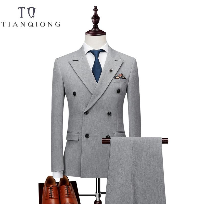 مزدوجة الصدر أحدث معطف بانت تصاميم دعوى الرجال صالح سليم الدعاوى الزفاف للرجال النقي أسود ضوء رمادي سهرة سترة + السراويل + سترة-في بدلة من ملابس الرجال على  مجموعة 1