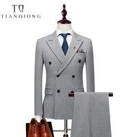 Double Breasted Latest Coat Pant Designs Suit Men Slim Fit Wedding Suits for Men Pure Black Light Grey Tuxedo Jacket+Pants+Vest