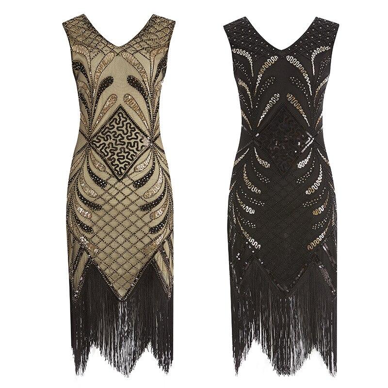 Women Party Dress Robe Femme 1920s Great Gatsby Flapper Sequin Fringe Midi Dress Vestido Summer Art Deco Retro Black Gold Dress