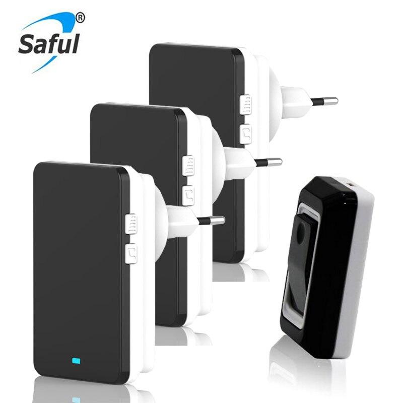 Saful Waterproof Wireless DoorBell 28 Melody Easy Set Up Home DoorBells With 1 Push Button +3 Indoor Doorbell Receivers 1V3