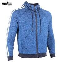 Men S Bodybuilding Slim Fit Full Zip Up Fleece Hoodie With 2 Stripe For Man And