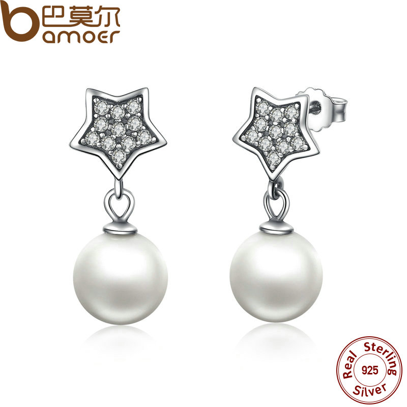 все цены на BAMOER Authentic 925 Sterling Silver Star & Simulated Pearl Drop Earrings for Women Wedding Fine Jewelry SCE004