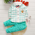 2017 New Spring Kids Clothes Boys Baby Clothing Sets Plaid Shirt + Pants Toddler Boys Clothes Set Children Fashion Outfits