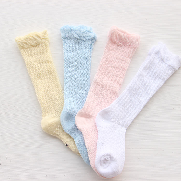 Himipopo Fashion Baby Girls Sock Spring Autumn Cotton Infant Socks Solid Newborn Baby Socks Mesh Baby