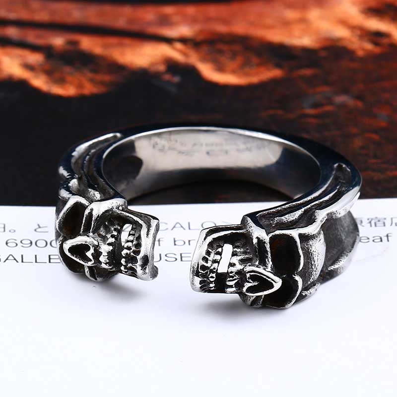 Biker Skull Ring For Man Stainless Steel Unique Punk Men Cool ...