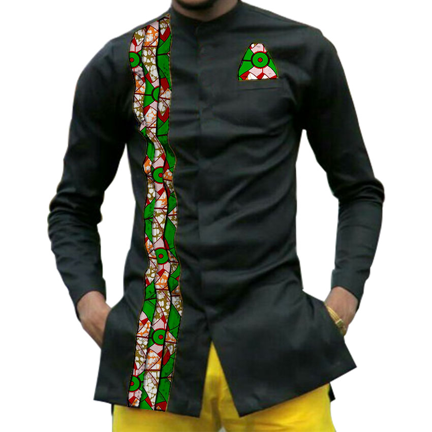 African print mens dashiki shirts men's African clothes patchwork shirt men long sleeve stand collar shirt in Africa clothing