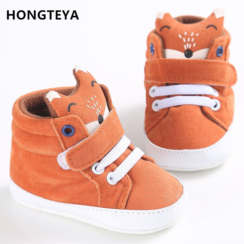 HONGTEYA baby shoes Cotton Cloth kids Girl Boys Fox High Help first walker Canvas Sneaker Anti-slip Soft Sole Toddler footwear