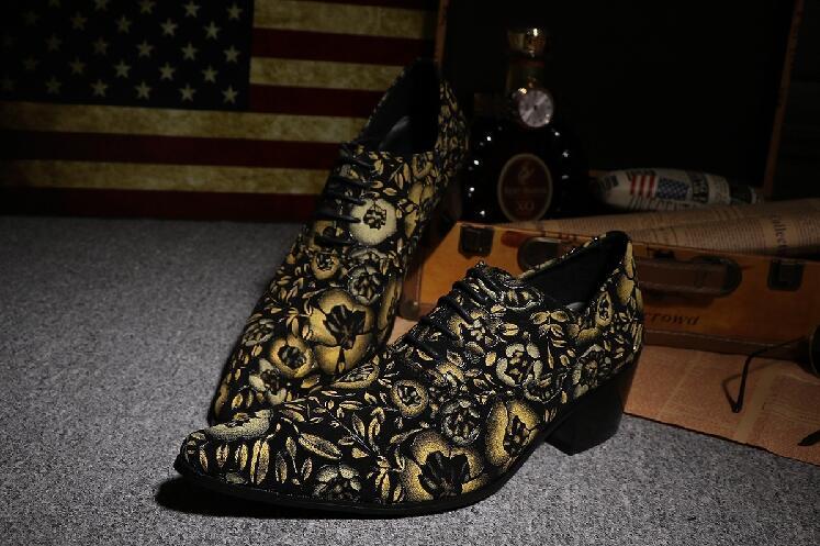 Beige up bleu Mode Affaires Cuir Oxford Bout De Chaussures pu En Formelle New Impression Ciel Pointu Dress Hommes Parti Dentelle Fleurs U1wtTq