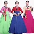 2016 зима женщины элегантный корейский традиционный костюм меньшинство танца одежда женский ханбок суд pincess платье
