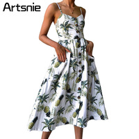 Artsnie Summer 2018 Strap Print Floral Maxi Long Boho Beach Dress Women Sundress Sexy Casual Loose