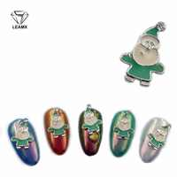 LEAMX Alloy 3D Charm Glitter Christmas Design Decoration Nail Supplier Rhinestone Jewelry Santa Claus 10/Pcs Charm Rhinestone