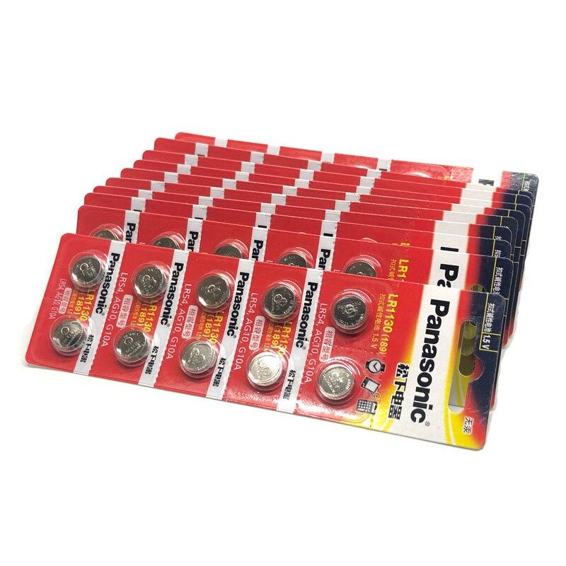 500 teile/los 100% Original Panasonic 1,5 V AG10 LR1130 Alkaline Knopfzellen Batterie AG10 389 LR54 SR54 SR1130W 189 LR1130