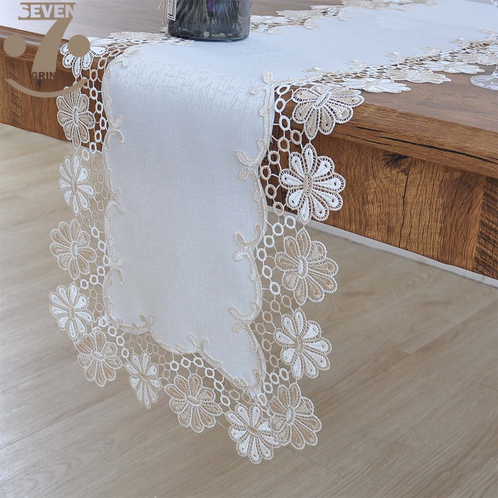 Free Shipping 100% Polyester White Color Thick Wood Grain Cloth Lace Border Table Runner