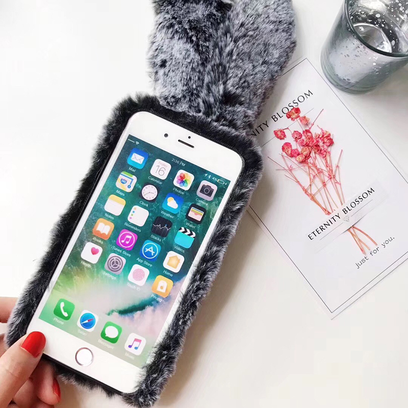 quality design 364cf 582f1 Christmas Rabbit Fur Case For Samsung Galaxy S8 S9 Plus S7 Edge Note 8 9 A6  A8 J3 J5 J6 J7 J8 Soft Furry Cases For Iphone 6