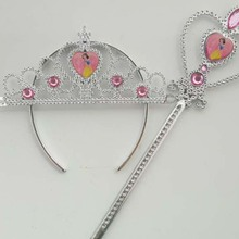 Children's Stage Assemblies Jewelry Hair Ornaments Snow White Crown Magic Wand Set