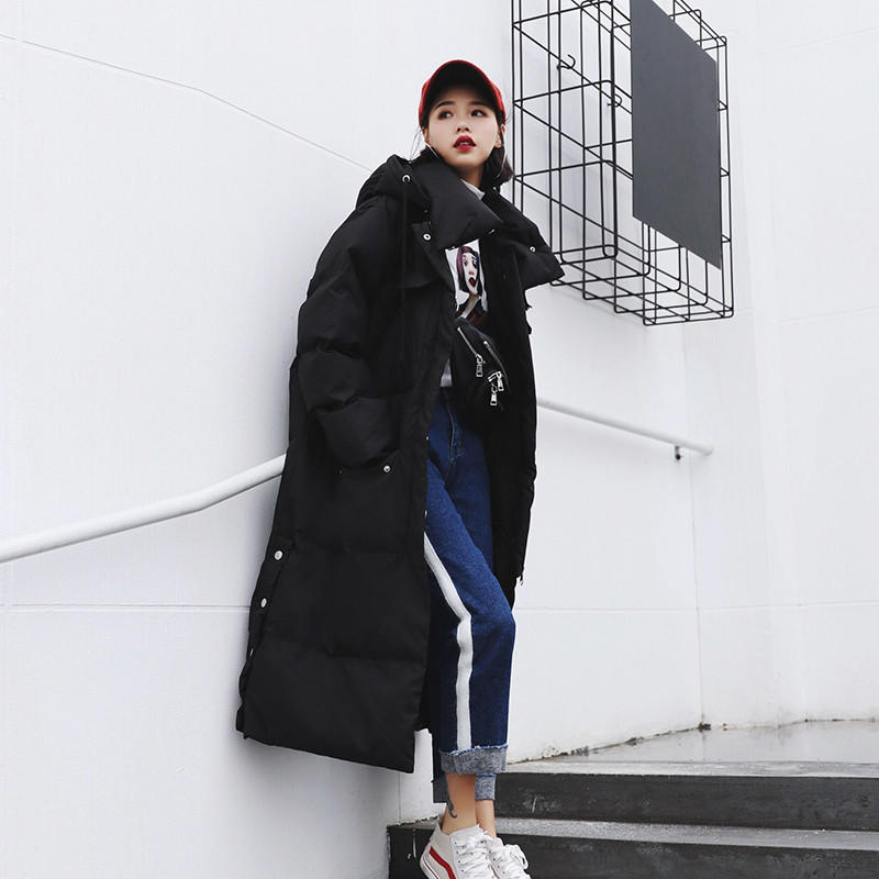 Kadın Giyim'ten Parkalar'de 2019 Kadın Kış Ceket Yeni Moda Uzun Siper Kapşonlu Dış Giyim Aşağı Pamuk Yastıklı Rüzgarlık Düz Palto Bayan Sıcak Palto'da  Grup 3